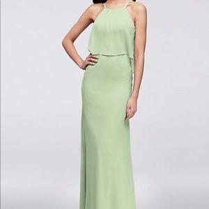 Flounced Crinkle Chiffon Sheath green dress